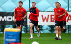 SOUTHAMPTON, ENGLAND - OCTOBER 15: L to R Sam Gallagher, Matt Targett and James Ward-Prowse during a Southampton FC training session at the Staplewood Campus, on October 15, 2018 in Southampton, England. (Photo by Matt Watson/Southampton FC via Getty Images)