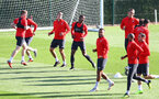 SOUTHAMPTON, ENGLAND - OCTOBER 18: Players warm up during a Southampton FC training session at the Staplewood Campus on October 18, 2018 in Southampton, England. (Photo by Matt Watson/Southampton FC via Getty Images)