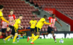 SOUTHAMPTON, ENGLAND - OCTOBER 19: Michael Obafemi (right) during the PL2 match between Southampton FC and Wolves pictured at St Mary's Stadium on October 19, 2018 in Southampton, England. (Photo by James Bridle - Southampton FC/Southampton FC via Getty Images)