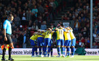 BOURNEMOUTH, ENGLAND - OCTOBER 20: Southampton players huddle during the Premier League match between AFC Bournemouth and Southampton FC at Vitality Stadium on October 20, 2018 in Bournemouth, United Kingdom. (Photo by Matt Watson/Southampton FC via Getty Images)