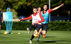 SOUTHAMPTON, ENGLAND - OCTOBER 22: LtoR WIll Smallbone, Maya Yoshida during a Southampton FC training session at Staplewood Complex on October 22, 2018 in Southampton, England. (Photo by James Bridle - Southampton FC/Southampton FC via Getty Images)