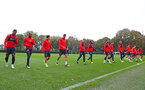 SOUTHAMPTON, ENGLAND - OCTOBER 25: players warm up during a Southampton FC training session at the Staplewood Campus on October 25, 2018 in Southampton, United Kingdom. (Photo by Matt Watson/Southampton FC via Getty Images)