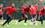 SOUTHAMPTON, ENGLAND - OCTOBER 25: Mario Lemina(centre) during a Southampton FC training session at the Staplewood Campus on October 25, 2018 in Southampton, United Kingdom. (Photo by Matt Watson/Southampton FC via Getty Images)