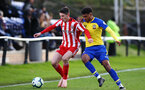 SUNDERLAND, ENGLAND - OCTOBER 28: Marcus Banres (right) during the during the U23s Premier League 2 match between Sunderland and Southampton FC, 2018 in Sunderland, England. (Photo by James Bridle - Southampton FC/Southampton FC via Getty Images)