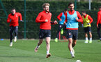 SOUTHAMPTON, ENGLAND - NOVEMBER 02: Stuart Armstrong(L) and Manolo Gabbiadini during a Southampton FC training session at the Staplewood Campus on November 2, 2018 in Southampton, England. (Photo by Matt Watson/Southampton FC via Getty Images)