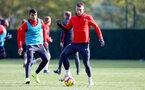 SOUTHAMPTON, ENGLAND - NOVEMBER 02: Pierre-Emile Hojbjerg(R) and Mohamed Elyounoussi during a Southampton FC training session at the Staplewood Campus on November 2, 2018 in Southampton, England. (Photo by Matt Watson/Southampton FC via Getty Images)