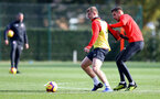 SOUTHAMPTON, ENGLAND - NOVEMBER 02: Matt Targett(L) and Jan Bednarek during a Southampton FC training session at the Staplewood Campus on November 2, 2018 in Southampton, England. (Photo by Matt Watson/Southampton FC via Getty Images)