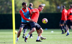 SOUTHAMPTON, ENGLAND - NOVEMBER 02: Manolo Gabbiadini(L) and James Ward-Prowse during a Southampton FC training session at the Staplewood Campus on November 2, 2018 in Southampton, England. (Photo by Matt Watson/Southampton FC via Getty Images)