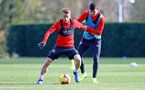 SOUTHAMPTON, ENGLAND - NOVEMBER 02: Steven Davis(L) and Mohamed Elyounoussi during a Southampton FC training session at the Staplewood Campus on November 2, 2018 in Southampton, England. (Photo by Matt Watson/Southampton FC via Getty Images)