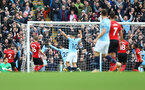 MANCHESTER, ENGLAND - NOVEMBER 04: Manchester City open the scoring during the Premier League match between Manchester City and Southampton FC at Etihad Stadium on November 4, 2018 in Manchester, United Kingdom. (Photo by Matt Watson/Southampton FC via Getty Images)