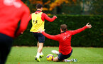 SOUTHAMPTON, ENGLAND - NOVEMBER 06: LtoR Cedric, Jack Stephens during a Southampton FC training session at Staplewood Complex on November 6, 2018 in Southampton, England. (Photo by James Bridle - Southampton FC/Southampton FC via Getty Images)