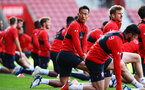 SOUTHAMPTON, ENGLAND - NOVEMBER 07: Maya Yoshida (middle) during a Southampton FC training session at St Mary's Stadium on November 7, 2018 in Southampton, England. (Photo by James Bridle - Southampton FC/Southampton FC via Getty Images)