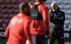 SOUTHAMPTON, ENGLAND - NOVEMBER 07: Mark Hughes (right) during a Southampton FC training session at St Mary's Stadium on November 7, 2018 in Southampton, England. (Photo by James Bridle - Southampton FC/Southampton FC via Getty Images)