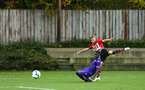 SOUTHAMPTON, ENGLAND - NOVEMBER 10: Kornlius Hansen (right) during the U18 Premier League match between Southampton FC and Stoke City FC pictured at Staplewood Complex on November 10, 2018 in Southampton, England. (Photo by James Bridle - Southampton FC/Southampton FC via Getty Images)