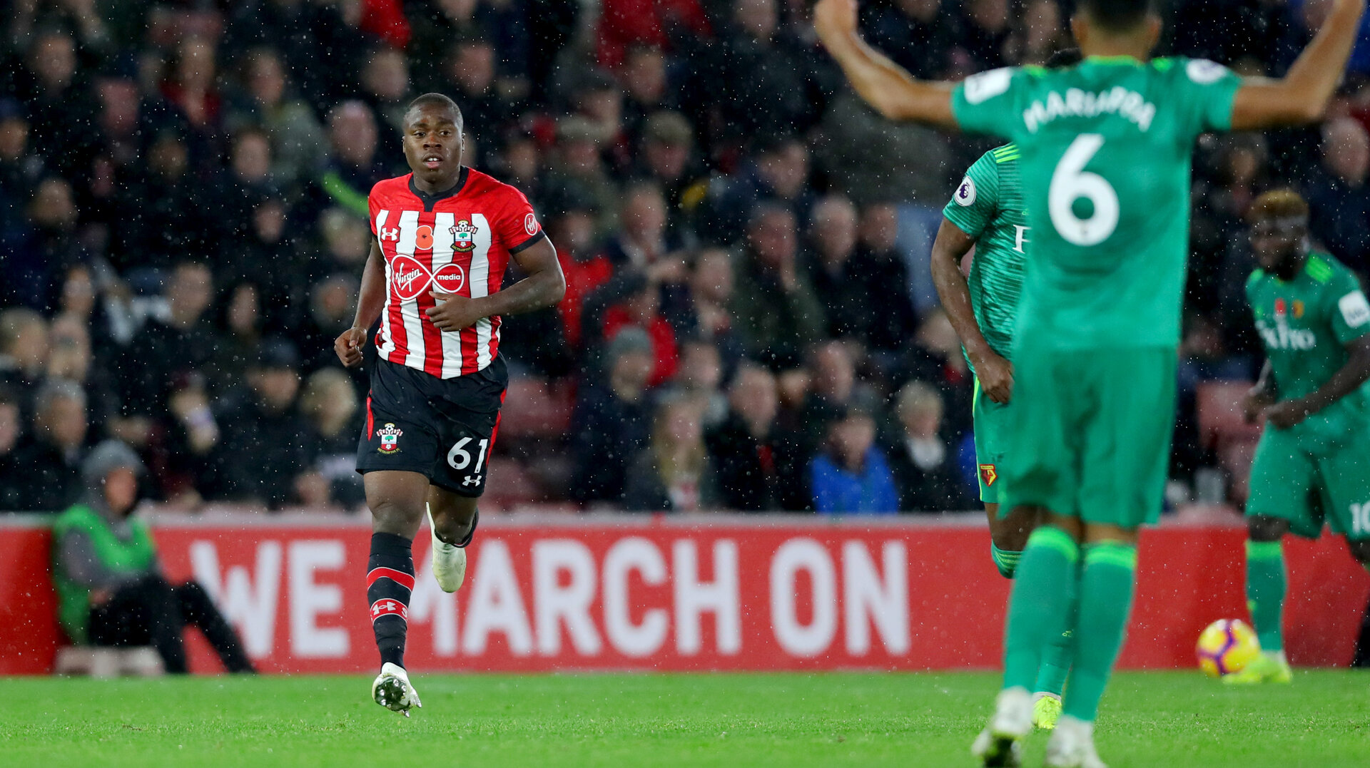 SOUTHAMPTON, ENGLAND - NOVEMBER 10: Michael Obafemi of Southampton during the Premier League match between Southampton FC and Watford FC at St Mary's Stadium on November 10, 2018 in Southampton, United Kingdom. (Photo by Matt Watson/Southampton FC via Getty Images)