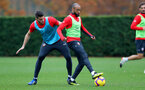 SOUTHAMPTON, ENGLAND - NOVEMBER 15: Wesley Hoedt(L) and Nathan Redmond during a Southampton FC training session at the Staplewood Campus on November 15, 2018 in Southampton, England. (Photo by Matt Watson/Southampton FC via Getty Images)