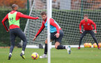 SOUTHAMPTON, ENGLAND - NOVEMBER 15: Jack Stephens(R) and Nathan Redmond  during a Southampton FC training session at the Staplewood Campus on November 15, 2018 in Southampton, England. (Photo by Matt Watson/Southampton FC via Getty Images)