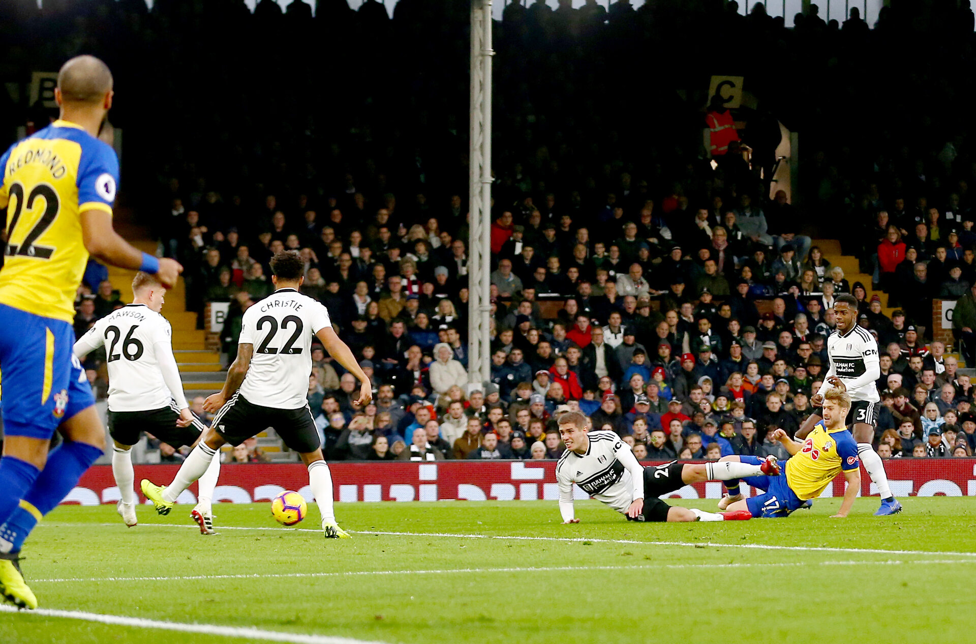 LONDON, ENGLAND - NOVEMBER 24: Stuart Armstrong of Southampton opens the scoring during the Premier League match between Fulham FC and Southampton FC at Craven Cottage on November 24, 2018 in London, United Kingdom. (Photo by Matt Watson/Southampton FC via Getty Images)