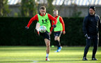 SOUTHAMPTON, ENGLAND - NOVEMBER 26: Steven Davis during a first team training session at Staplewood Complex on November 26, 2018 in Southampton, England. (Photo by James Bridle - Southampton FC/Southampton FC via Getty Images)