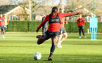 SOUTHAMPTON, ENGLAND - NOVEMBER 26: Michael Obafemi during a first team training session at Staplewood Complex on November 26, 2018 in Southampton, England. (Photo by James Bridle - Southampton FC/Southampton FC via Getty Images)