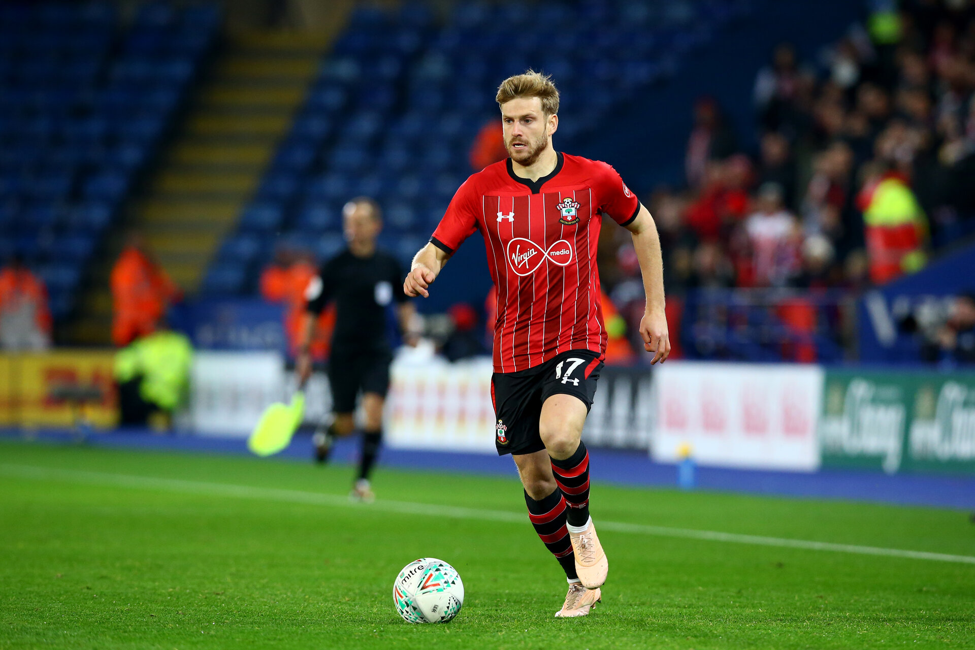 LEICESTER, ENGLAND - NOVEMBER 27: Stuart Armstrong during the Carabao Cup Fourth Round match between Leicester City and Southampton at The King Power Stadium on October 30, 2018 in Leicester, England. (Photo by James Bridle - Southampton FC/Southampton FC via Getty Images)