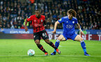 LEICESTER, ENGLAND - NOVEMBER 27: Michael Obafemi(L) of Southampton during the Carabao Cup Fourth Round match between Leicester City and Southampton at The King Power Stadium on November 27th, 2018 in Leicester, England. (Photo by Matt Watson/Southampton FC via Getty Images)