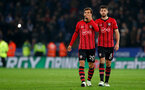 LEICESTER, ENGLAND - NOVEMBER 27: Manolo Gabbiadini(L) and Jack Stephens of Southampton during the Carabao Cup Fourth Round match between Leicester City and Southampton at The King Power Stadium on November 27th, 2018 in Leicester, England. (Photo by Matt Watson/Southampton FC via Getty Images)