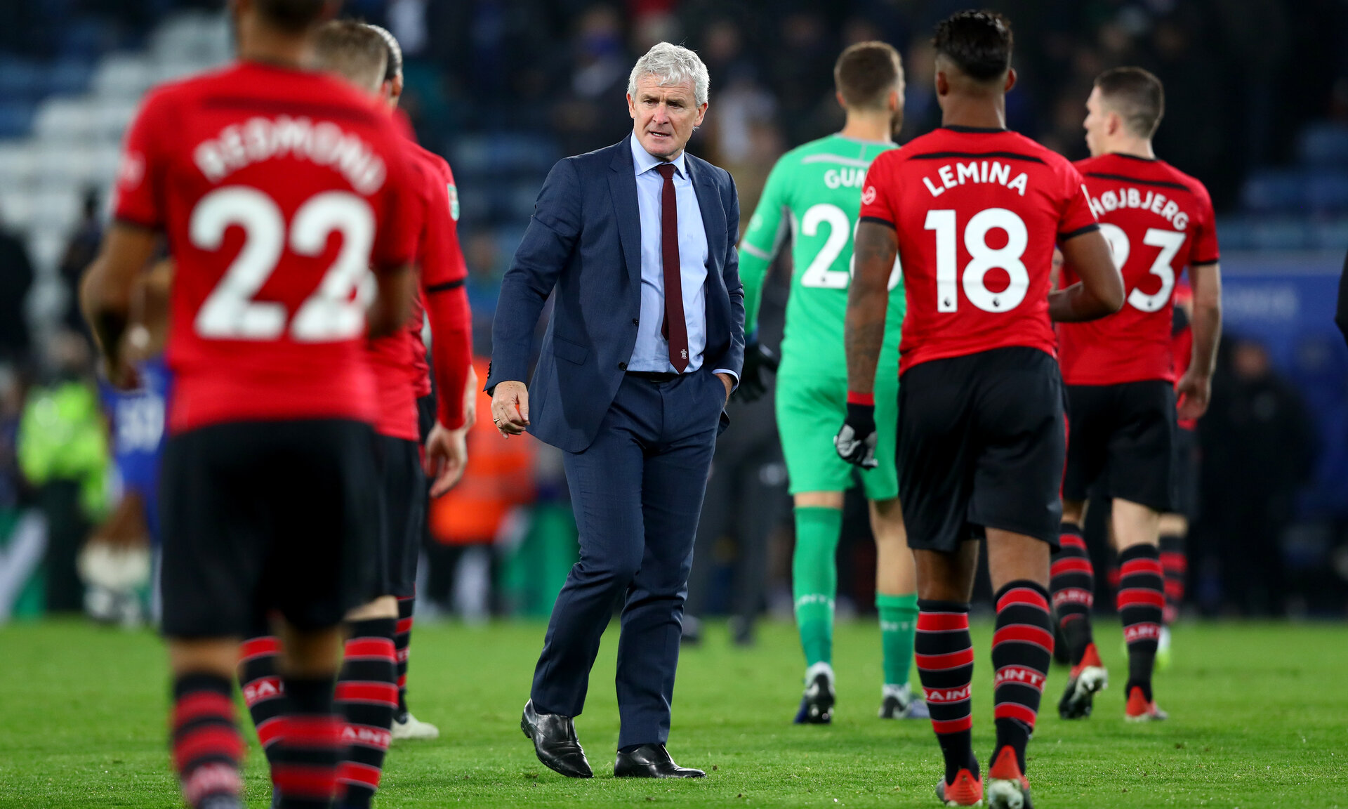 LEICESTER, ENGLAND - NOVEMBER 27: Mark Hughes of Southampton during the Carabao Cup Fourth Round match between Leicester City and Southampton at The King Power Stadium on November 27th, 2018 in Leicester, England. (Photo by Matt Watson/Southampton FC via Getty Images)