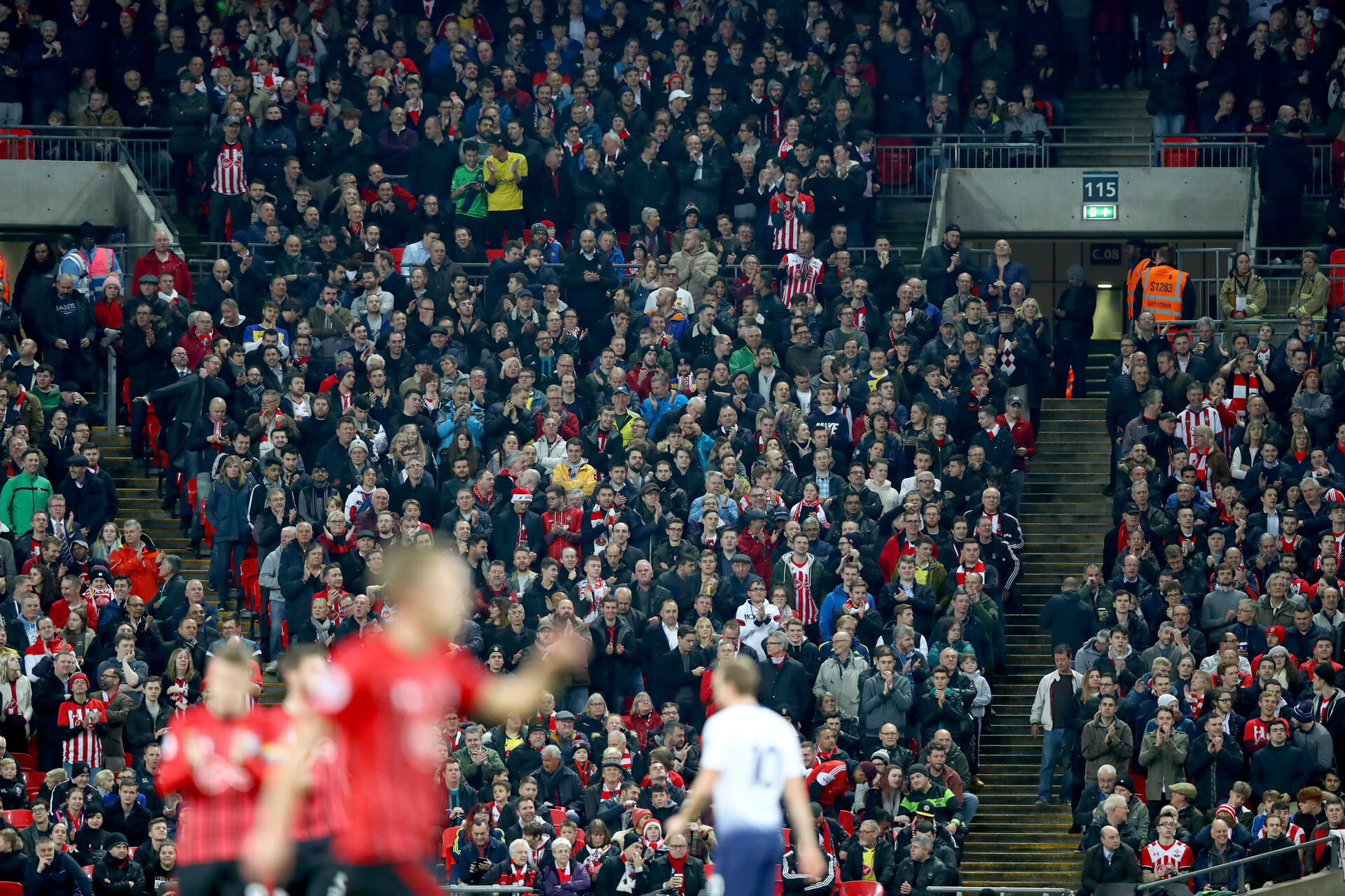LONDON, ENGLAND - DECEMBER 05: fans of Southampton during the Premier League match between Tottenham Hotspur and Southampton FC at Tottenham Hotspur Stadium on December 5, 2018 in London, United Kingdom. (Photo by Matt Watson/Southampton FC via Getty Images)