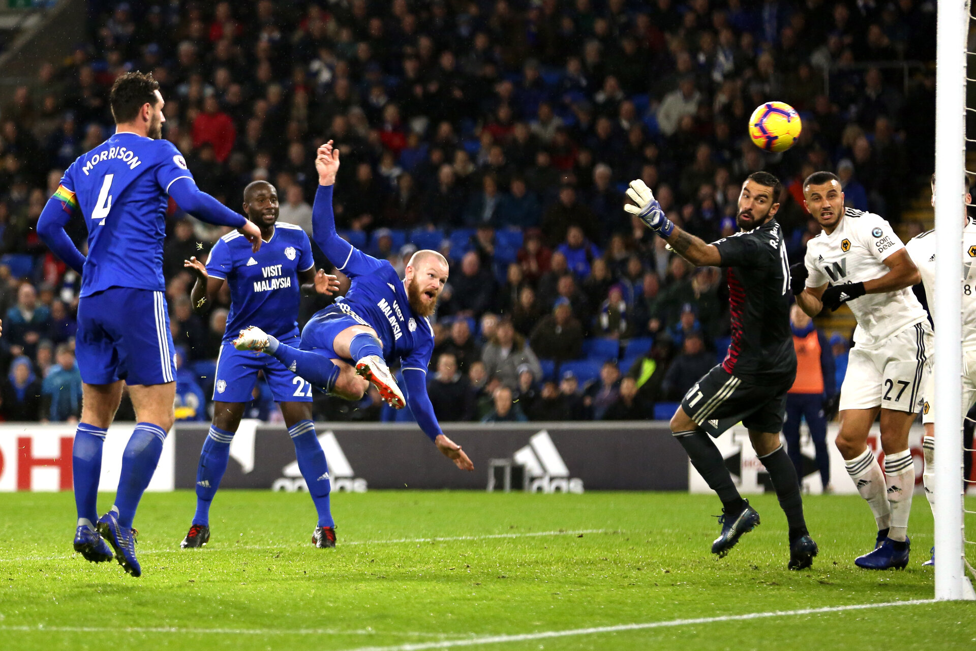 CARDIFF, WALES - NOVEMBER 30: Aron Gunnarsson of Cardiff City scores a goal to make it 1-1 during the Premier League match between Cardiff City and Wolverhampton Wanderers at Cardiff City Stadium on November 30, 2018 in Cardiff, United Kingdom. (Photo by Molly Darlington - AMA/Getty Images)