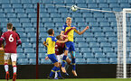 BIRMINGHAM, ENGLAND - DECEMBER 07: Christoph Klarer (middle) header during the match between Aston Villa FC and Southampton FC pictured at Villa Park Stadium  on December 7, 2018 in Birmingham, England. (Photo by James Bridle - Southampton FC/Southampton FC via Getty Images)