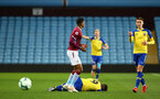 BIRMINGHAM, ENGLAND - DECEMBER 07: Jonathan Afolabi fouled (middle) during the match between Aston Villa FC and Southampton FC pictured at Villa Park Stadium  on December 7, 2018 in Birmingham, England. (Photo by James Bridle - Southampton FC/Southampton FC via Getty Images)