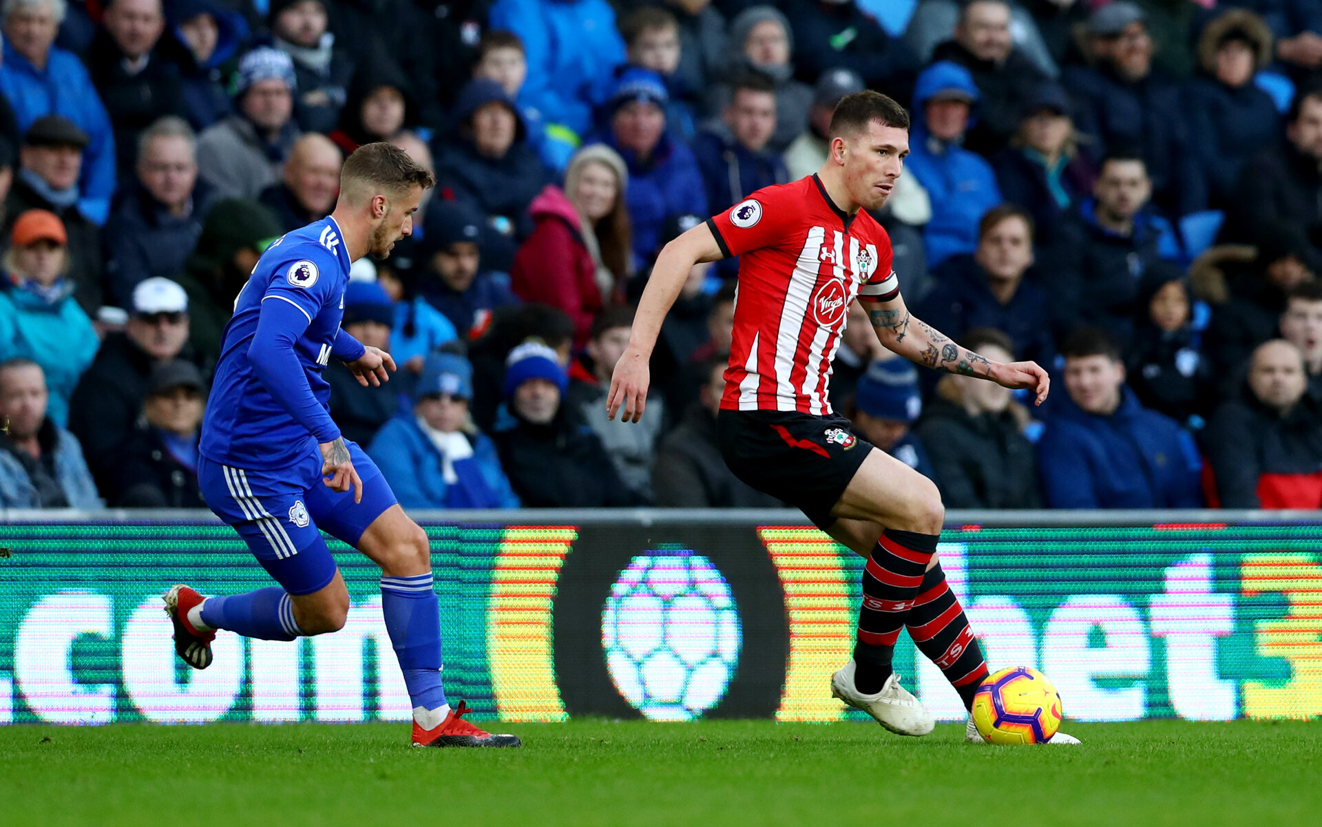 CARDIFF, WALES - DECEMBER 08: Pierre-Emile Hojbjerg of Southampton during the Premier League match between Cardiff City and Southampton FC at Cardiff City Stadium on December 8, 2018 in Cardiff, United Kingdom. (Photo by Matt Watson/Southampton FC via Getty Images)