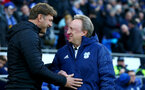 CARDIFF, WALES - DECEMBER 08: Ralph Hasenhüttl(L) of Southampton an Neil Warnock of Cardiff during the Premier League match between Cardiff City and Southampton FC at Cardiff City Stadium on December 8, 2018 in Cardiff, United Kingdom. (Photo by Matt Watson/Southampton FC via Getty Images)