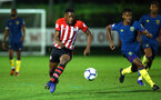 SOUTHAMPTON, ENGLAND - DECEMBER 11: Jonathan Afolabi (left) during the U23s Cup match between Southampton FC and West Ham United pictured at Staplewood Training Ground on December 11, 2018 in Southampton England. (Photo by James Bridle - Southampton FC/Southampton FC via Getty Images)