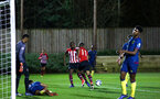 SOUTHAMPTON, ENGLAND - DECEMBER 11: Tyreke Johnson scores (middle) during the U23s Cup match between Southampton FC and West Ham United pictured at Staplewood Training Ground on December 11, 2018 in Southampton England. (Photo by James Bridle - Southampton FC/Southampton FC via Getty Images)