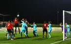 SOUTHAMPTON, ENGLAND - DECEMBER 14: Harry Hablin heads the ball from a corner by Jake Vokins during the U23s PL2 match between Southampton FC and Newcastle United pictured at Staplewood Training Ground on December 14, 2018 in Southampton England. (Photo by James Bridle - Southampton FC/Southampton FC via Getty Images)