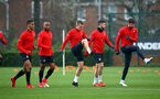 SOUTHAMPTON, ENGLAND - DECEMBER 19:  LtoR Yan Valery, Tyreke Johnson, James Ward-Prowse, Shane Long, Jack Stephens during a training session at Staplewood Complex on December 19, 2018 in Southampton, England. (Photo by James Bridle - Southampton FC/Southampton FC via Getty Images)