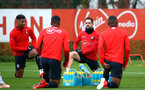 SOUTHAMPTON, ENGLAND - DECEMBER 19: LtoR Mario Lemina, Danny Ings during a Southampton FC training session at Staplewood Complex on December 19, 2018 in Southampton, England. (Photo by James Bridle - Southampton FC/Southampton FC via Getty Images)