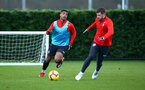 SOUTHAMPTON, ENGLAND - DECEMBER 19: LtoR Mario Lemina, Jack Stephens during a training session at Staplewood Complex on December 19, 2018 in Southampton, England. (Photo by James Bridle - Southampton FC/Southampton FC via Getty Images)