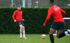 SOUTHAMPTON, ENGLAND - DECEMBER 19: Stuart Armstrong (left) during a training sesion at Staplewood Complex on December 19, 2018 in Southampton, England. (Photo by James Bridle - Southampton FC/Southampton FC via Getty Images)