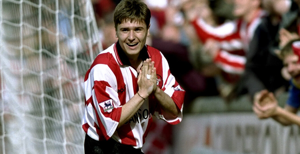 16 May 1999:  Marian Pahars of Southampton celebrates his goal during the FA Carling Premiership match against Everton played at the Dell in Southampton, England.  The match finished in a 2-0 win for Southampton and they were able to avoid relegation. \ Mandatory Credit: Gary M Prior/Allsport