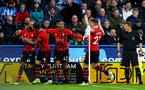 HUDDERSFIELD, ENGLAND - DECEMBER 22:  Nathan Redmond(L) of Southampton celebrates with team mates after opening the scoring during the Premier League match between Huddersfield Town and Southampton FC at John Smith's Stadium on December 22, 2018 in Huddersfield, United Kingdom. (Photo by Matt Watson/Southampton FC via Getty Images)