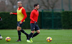 SOUTHAMPTON, ENGLAND - DECEMBER 25: Oriol Romeu(L) and Cedric Soares during a Southampton FC training session at the Staplewood Campus on December 25, 2018 in Southampton, England. (Photo by Matt Watson/Southampton FC via Getty Images)
