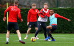 SOUTHAMPTON, ENGLAND - DECEMBER 25: Matt Targett(L) and Tyreke Johnson during a Southampton FC training session at the Staplewood Campus on December 25, 2018 in Southampton, England. (Photo by Matt Watson/Southampton FC via Getty Images)
