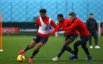 SOUTHAMPTON, ENGLAND - DECEMBER 28:  LtoR Marcus Barnes, Kayne Ramsay, Steven Davis during a Southampton FC training session at Staplewood Training Ground on December 28, 2018 in Southampton, United Kingdom. (Photo by James Bridle - Southampton FC/Southampton FC via Getty Images)