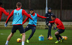 SOUTHAMPTON, ENGLAND - DECEMBER 28:  Mohamed Elyounoussi (middle) Cedric (right) during a Southampton FC training session at Staplewood Training Ground on December 28, 2018 in Southampton, United Kingdom. (Photo by James Bridle - Southampton FC/Southampton FC via Getty Images)