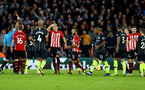 SOUTHAMPTON, ENGLAND - DECEMBER 30: Pierre-Emile Hojbjerg(R) of Southampton is shown a red card during the Premier League match between Southampton FC and Manchester City at St Mary's Stadium on December 30, 2018 in Southampton, United Kingdom. (Photo by Matt Watson/Southampton FC via Getty Images)