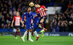 LONDON, ENGLAND - JANUARY 02: Cedric Soares(L) of Southampton and Ngolo Kante of Chelsea during the Premier League match between Chelsea FC and Southampton FC at Stamford Bridge on January 02, 2019 in London, United Kingdom. (Photo by Matt Watson/Southampton FC via Getty Images)