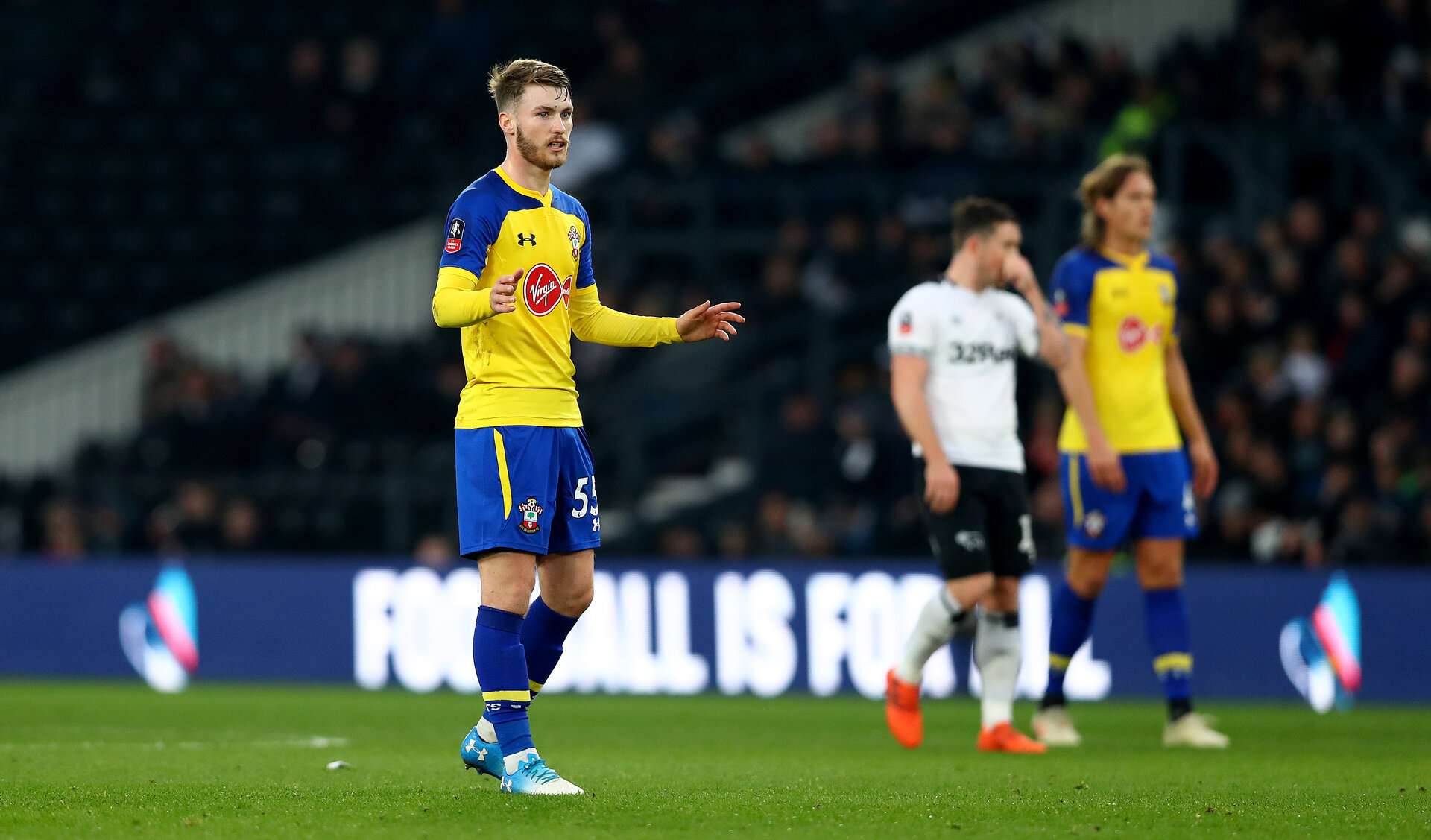DERBY, ENGLAND - JANUARY 05: Callum Slattery of Southampton during the FA Cup Third Round match between Derby County and Southampton FC at Pride Park on January 05, 2019 in Derby, United Kingdom. (Photo by Matt Watson/Southampton FC via Getty Images)